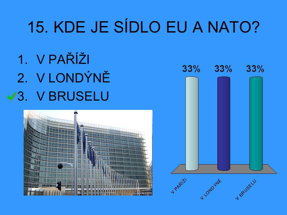 15. KDE JE SÍDLO EU A NATO V PAŘÍŽI V LONDÝNĚ V BRUSELU
