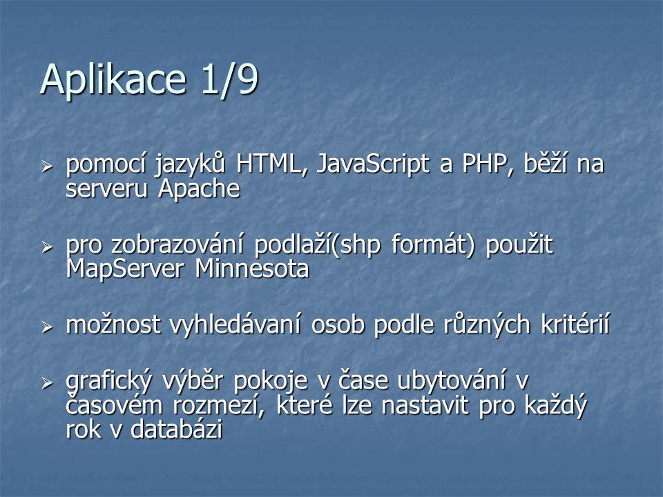 Aplikace 1/9 pomocí jazyků HTML, JavaScript a PHP, běží na serveru Apache. pro zobrazování podlaží(shp formát) použit MapServer Minnesota.