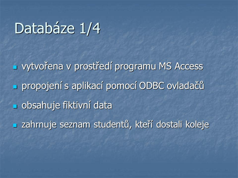 Databáze 1/4 vytvořena v prostředí programu MS Access