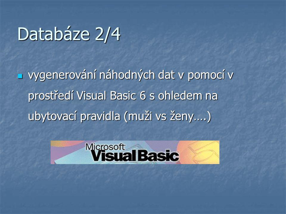 Databáze 2/4 vygenerování náhodných dat v pomocí v prostředí Visual Basic 6 s ohledem na ubytovací pravidla (muži vs ženy….)