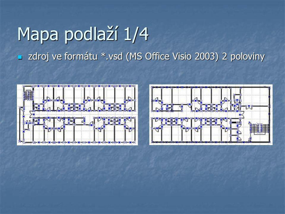 Mapa podlaží 1/4 zdroj ve formátu *.vsd (MS Office Visio 2003) 2 poloviny