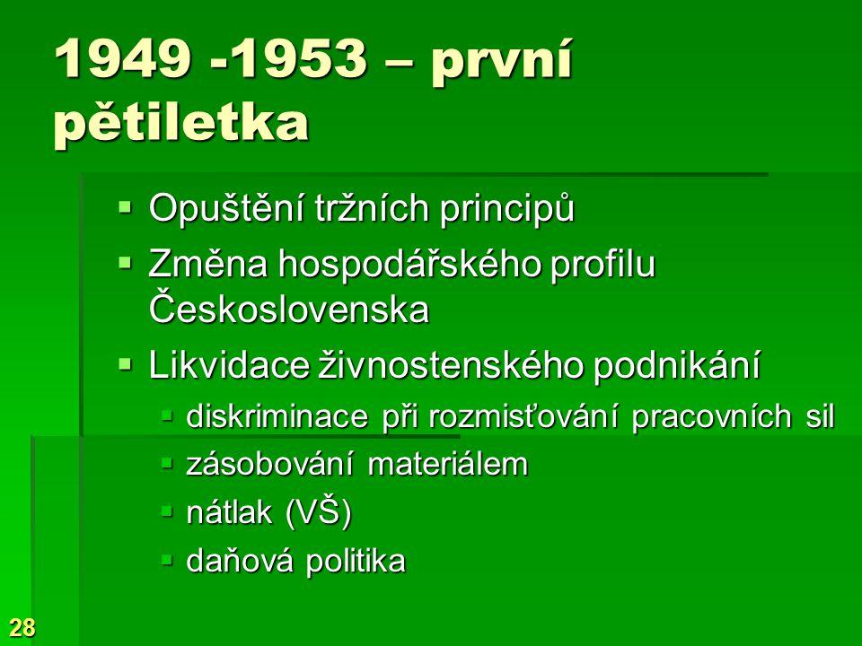 1949 -1953 – první pětiletka Opuštění tržních principů