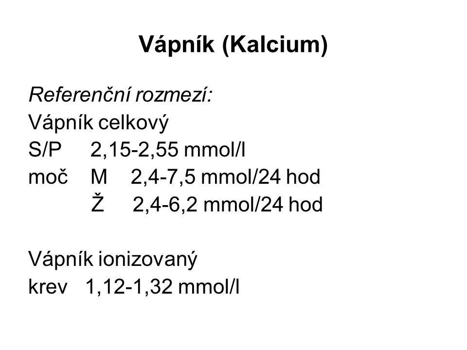 Vápník (Kalcium) Referenční rozmezí: Vápník celkový