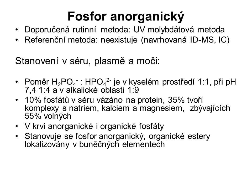 Fosfor anorganický Stanovení v séru, plasmě a moči: