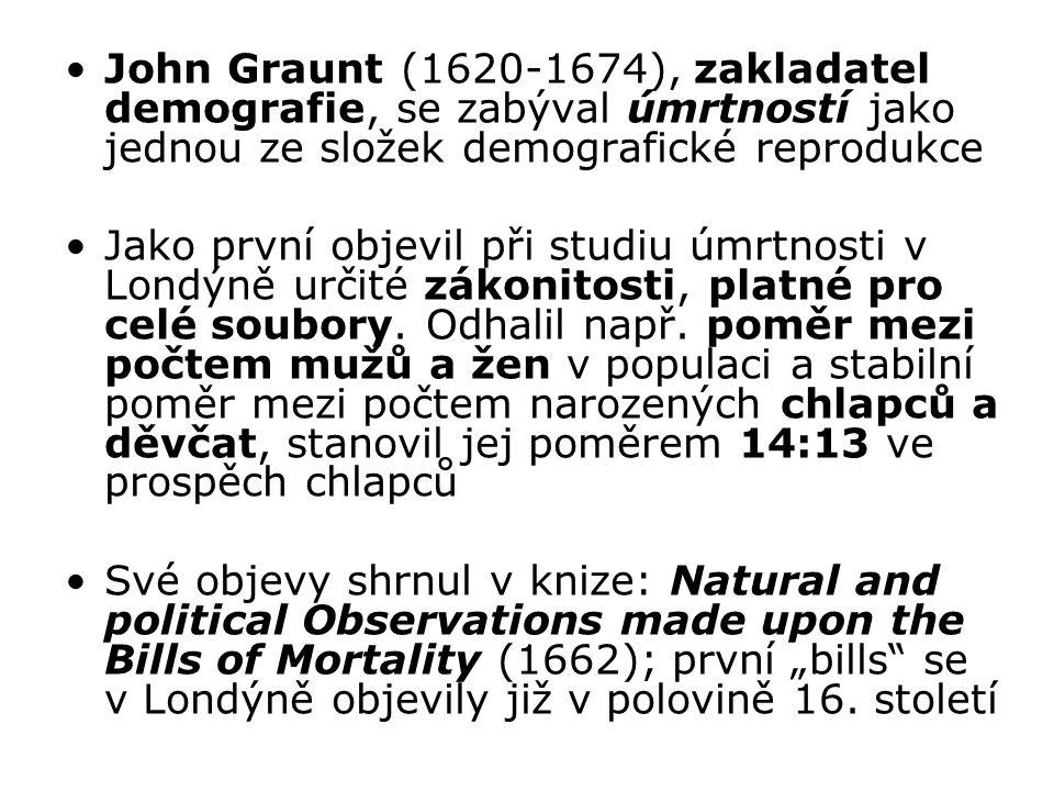 John Graunt (1620-1674), zakladatel demografie, se zabýval úmrtností jako jednou ze složek demografické reprodukce