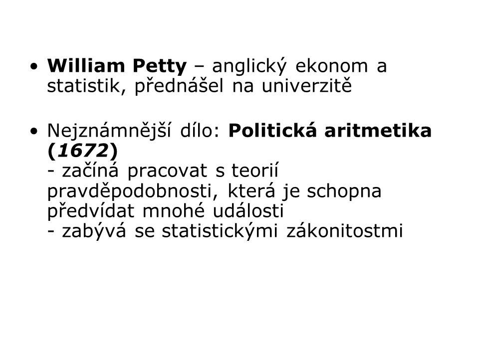 William Petty – anglický ekonom a statistik, přednášel na univerzitě