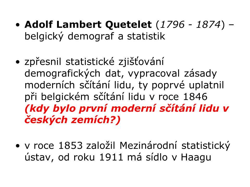Adolf Lambert Quetelet (1796 - 1874) – belgický demograf a statistik