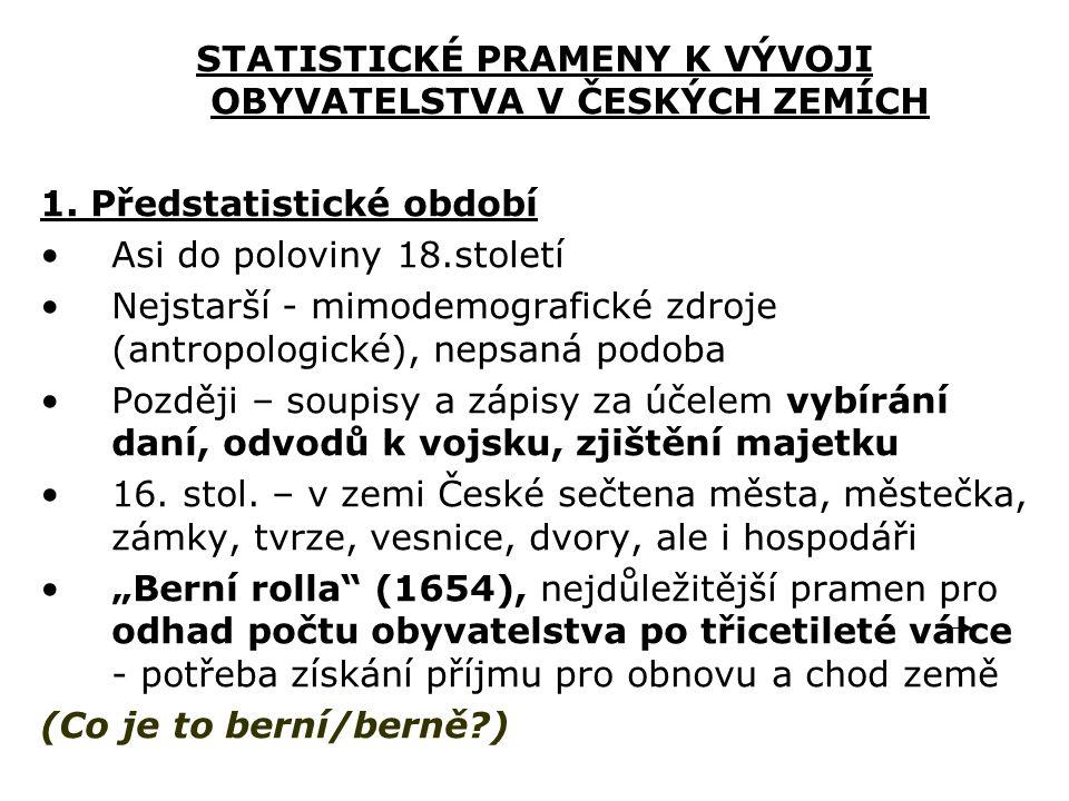 STATISTICKÉ PRAMENY K VÝVOJI OBYVATELSTVA V ČESKÝCH ZEMÍCH