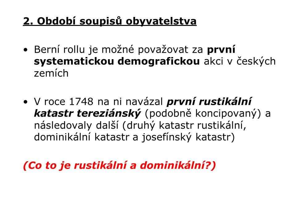 2. Období soupisů obyvatelstva