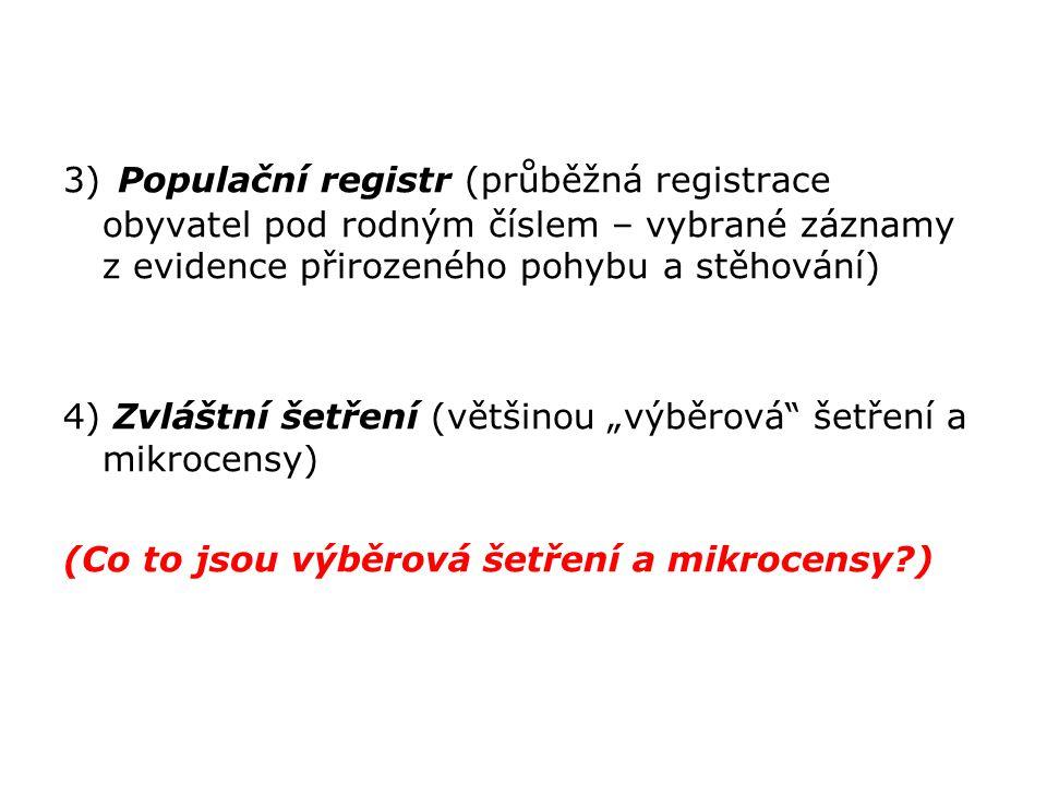 3) Populační registr (průběžná registrace obyvatel pod rodným číslem – vybrané záznamy z evidence přirozeného pohybu a stěhování)