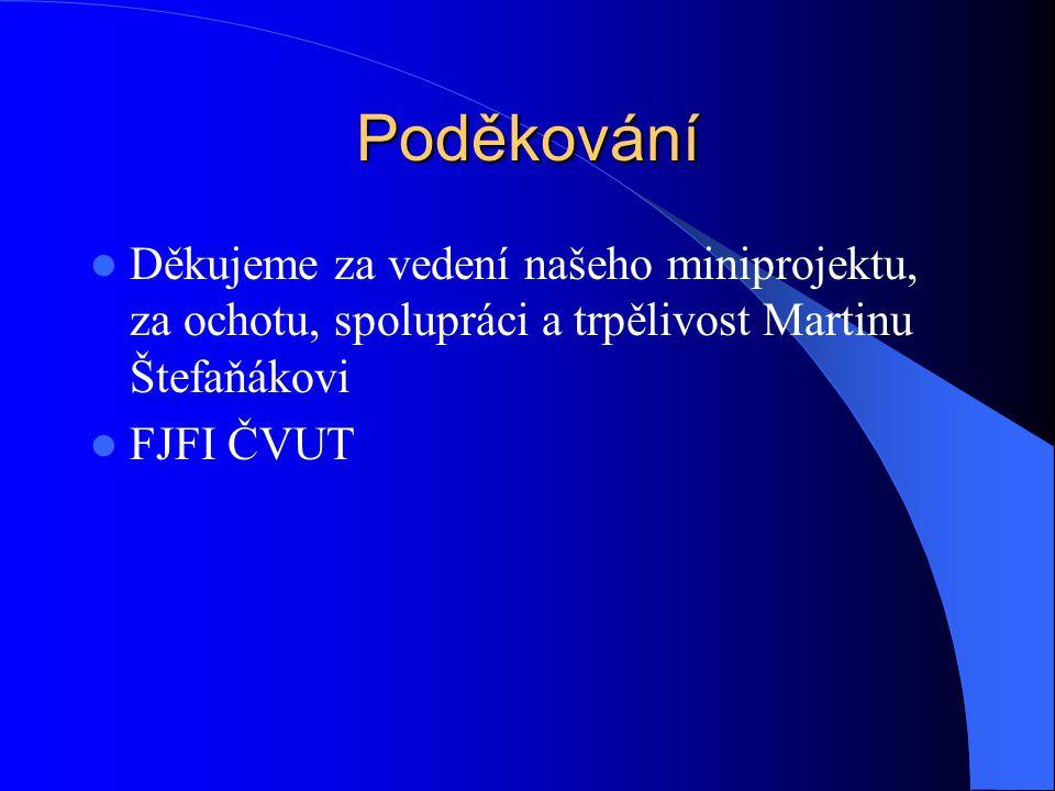 Poděkování Děkujeme za vedení našeho miniprojektu, za ochotu, spolupráci a trpělivost Martinu Štefaňákovi.