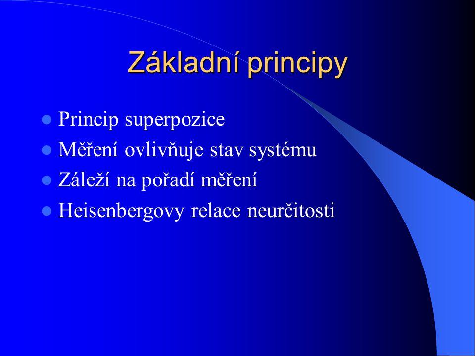 Základní principy Princip superpozice Měření ovlivňuje stav systému