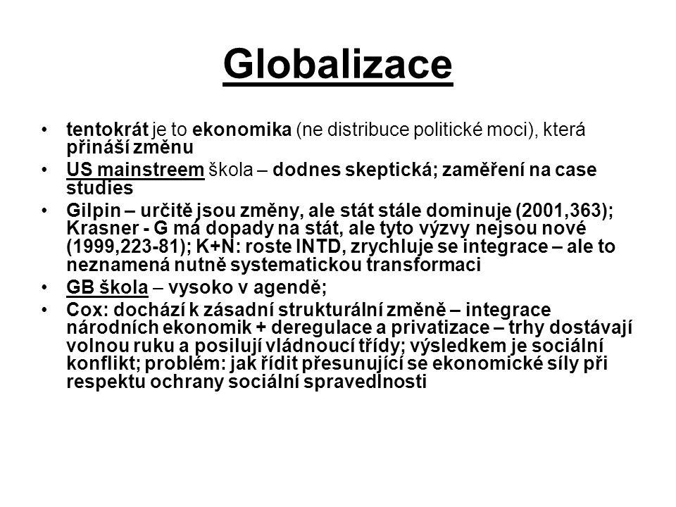 Globalizace tentokrát je to ekonomika (ne distribuce politické moci), která přináší změnu.