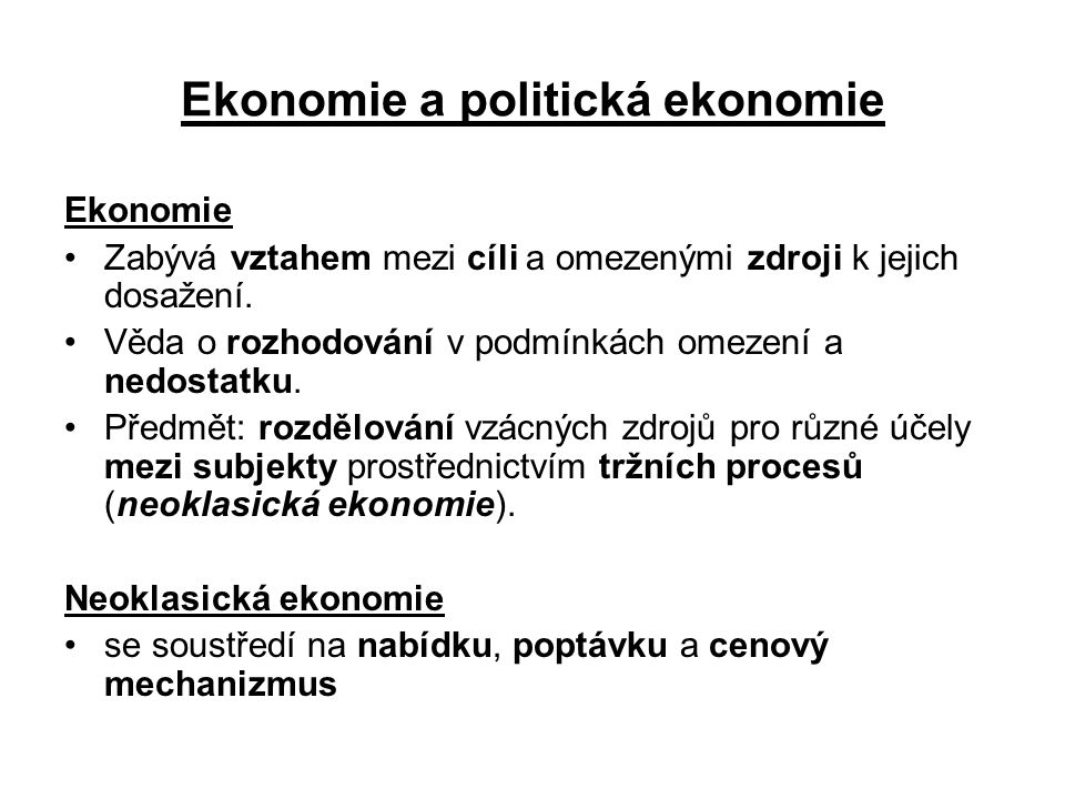 Ekonomie a politická ekonomie