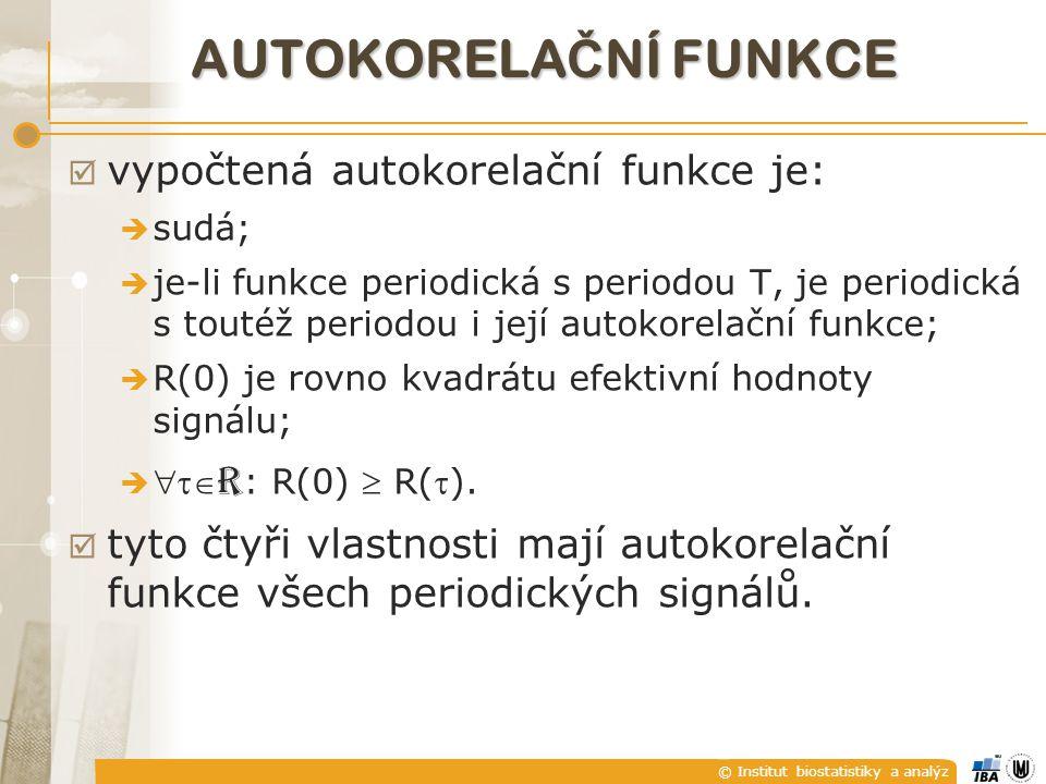 autoKorelační funkce vypočtená autokorelační funkce je:
