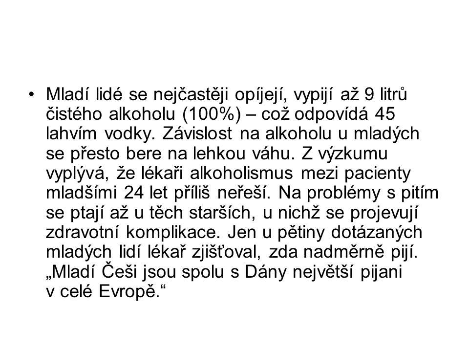 Mladí lidé se nejčastěji opíjejí, vypijí až 9 litrů čistého alkoholu (100%) – což odpovídá 45 lahvím vodky.