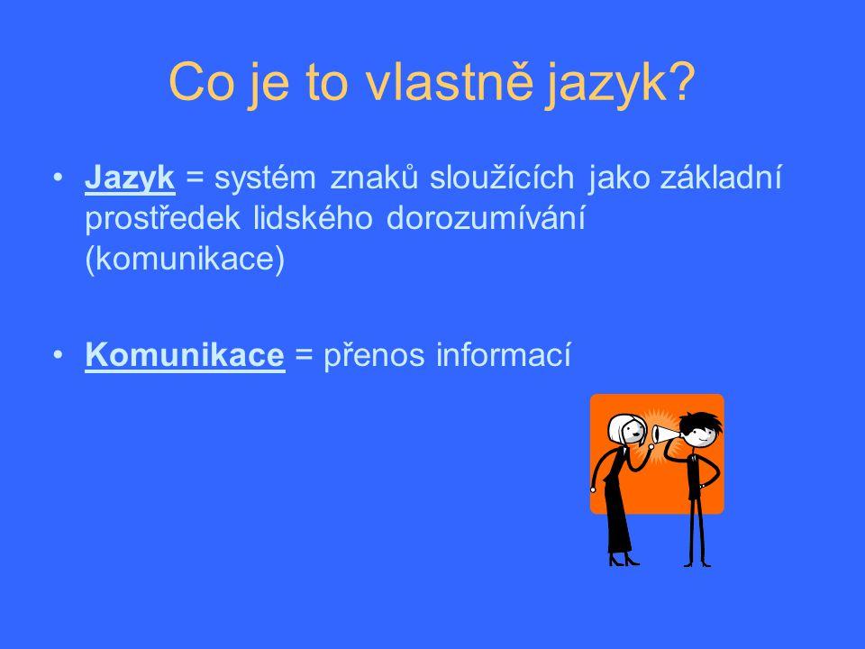 Co je to vlastně jazyk Jazyk = systém znaků sloužících jako základní prostředek lidského dorozumívání (komunikace)