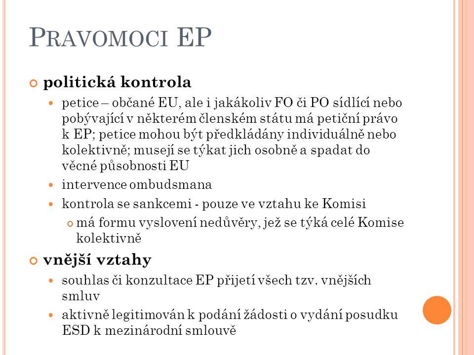 Pravomoci EP politická kontrola vnější vztahy