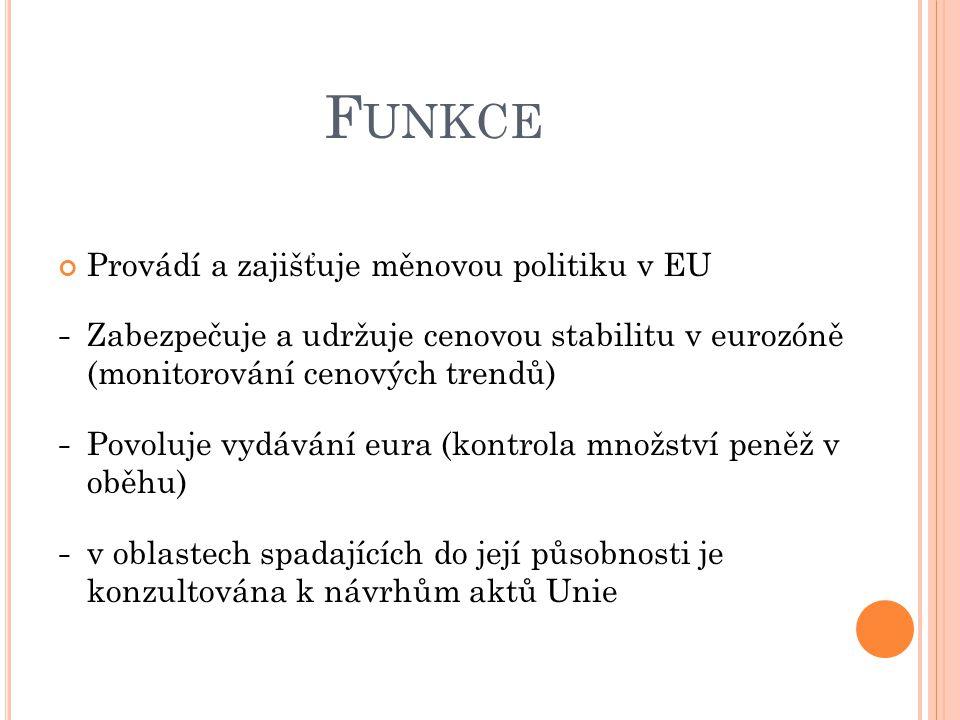Funkce Provádí a zajišťuje měnovou politiku v EU