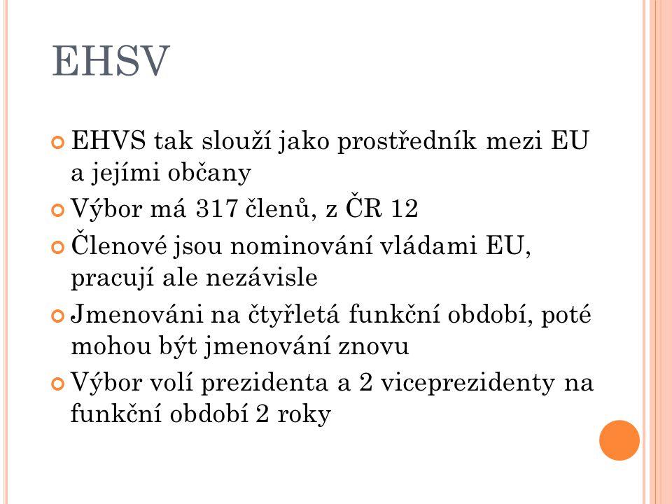 EHSV EHVS tak slouží jako prostředník mezi EU a jejími občany