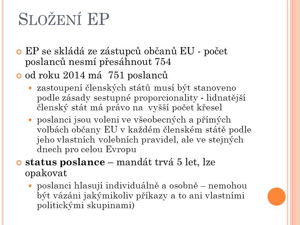 Složení EP EP se skládá ze zástupců občanů EU - počet poslanců nesmí přesáhnout 754. od roku 2014 má 751 poslanců.