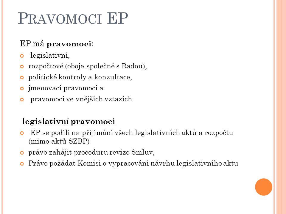 Pravomoci EP EP má pravomoci: legislativní pravomoci legislativní,