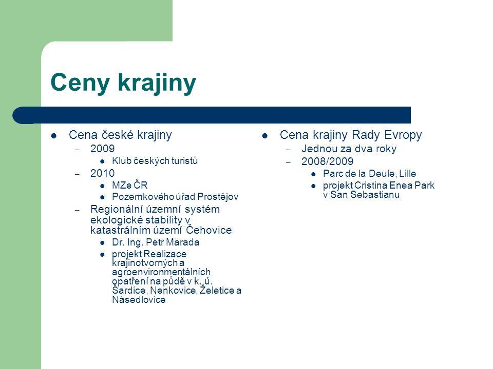 Ceny krajiny Cena české krajiny Cena krajiny Rady Evropy 2009 2010