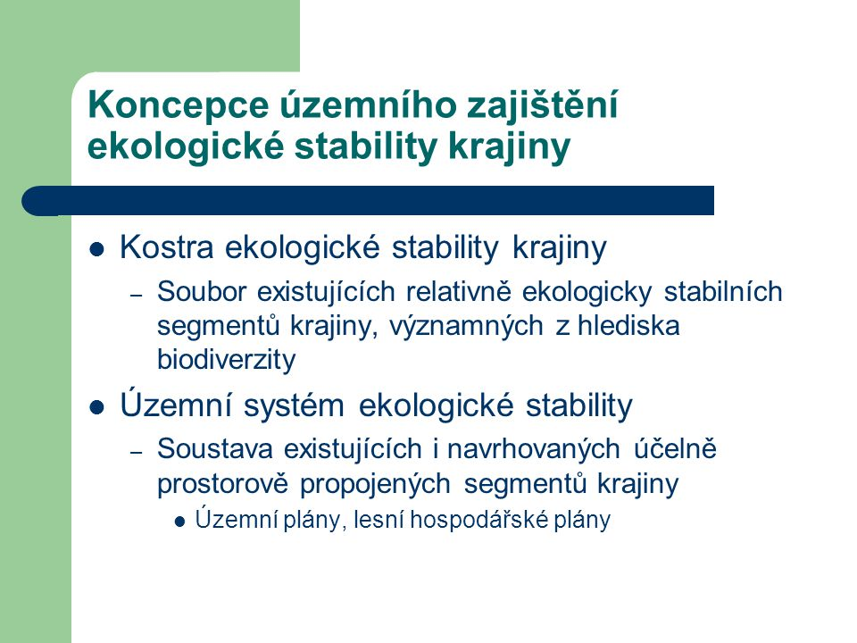Koncepce územního zajištění ekologické stability krajiny