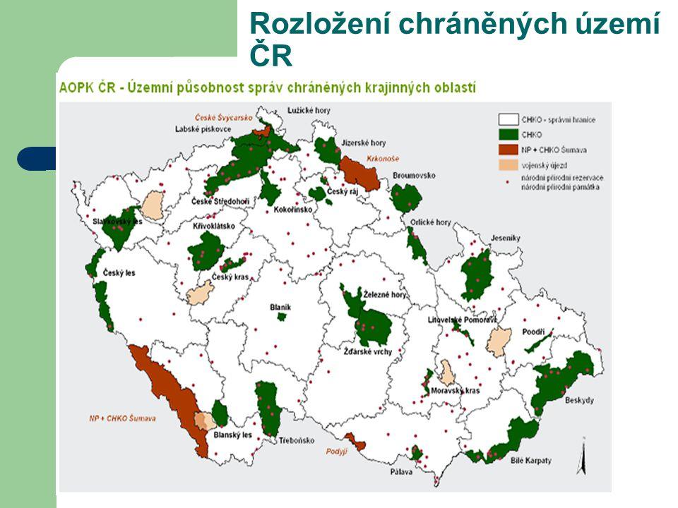 Rozložení chráněných území ČR