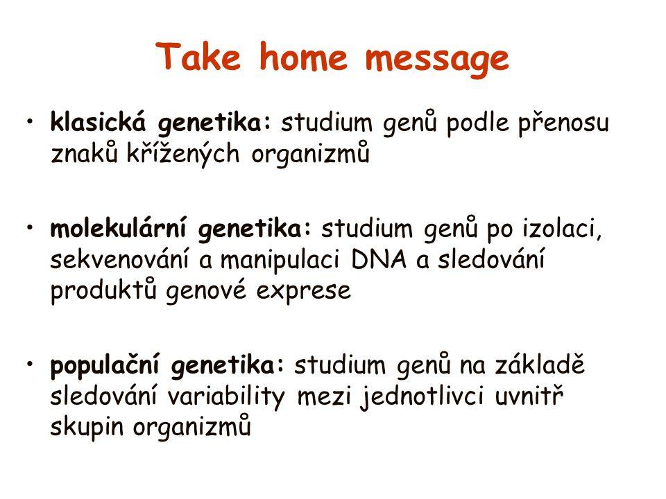 Take home message klasická genetika: studium genů podle přenosu znaků křížených organizmů.