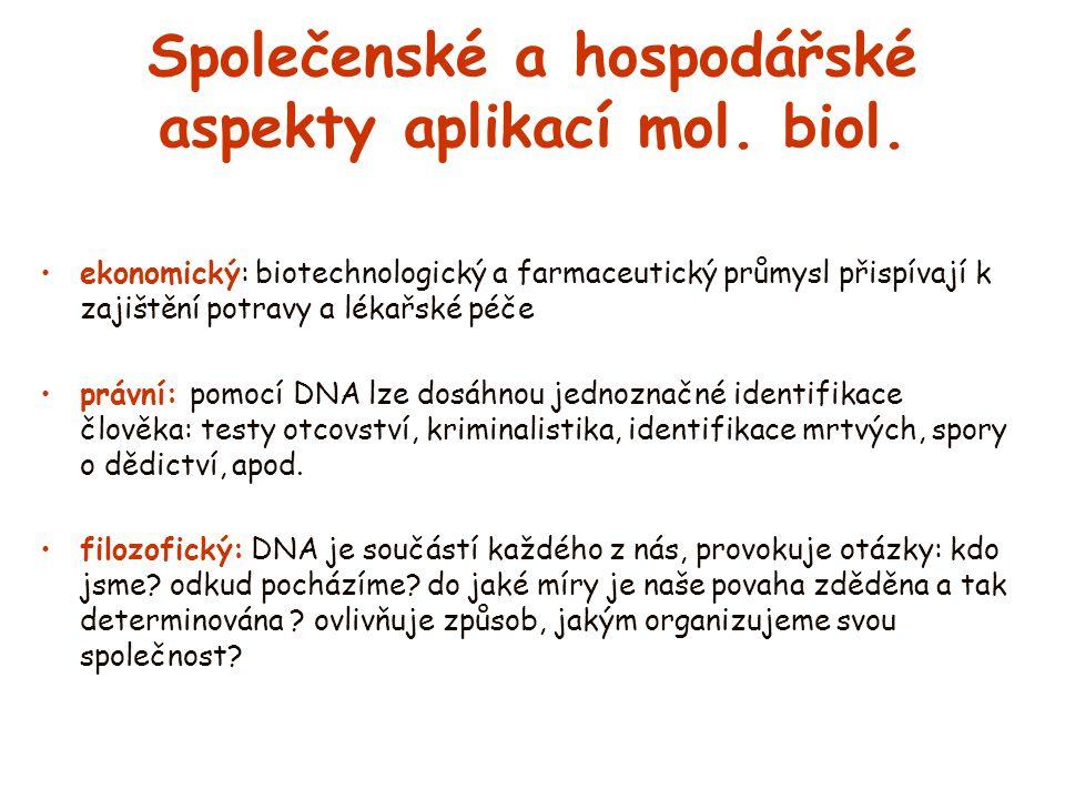 Společenské a hospodářské aspekty aplikací mol. biol.
