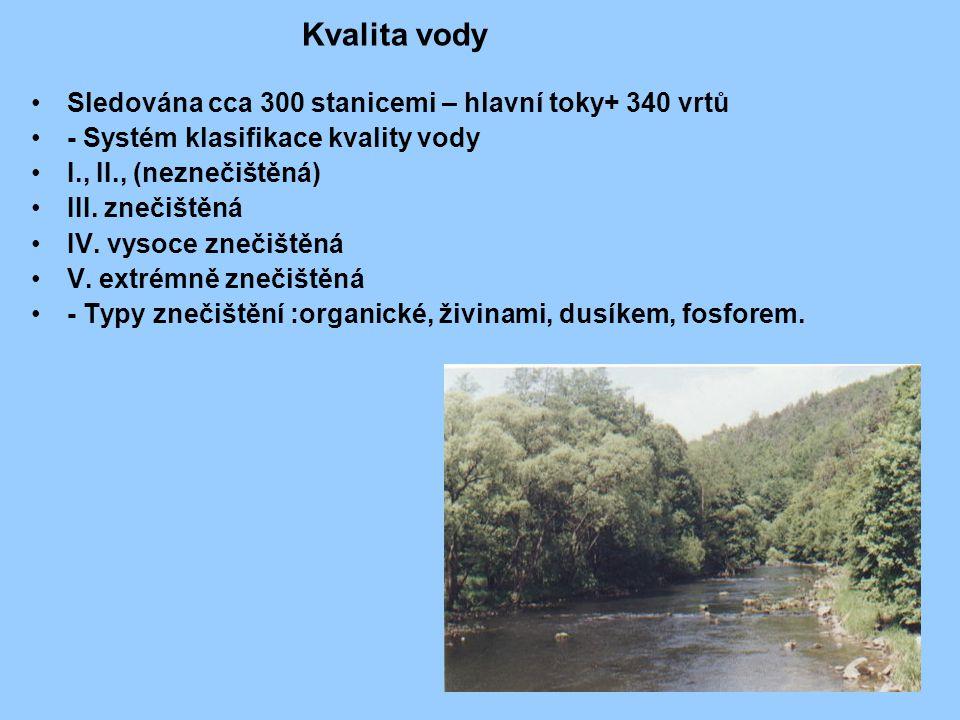 Kvalita vody Sledována cca 300 stanicemi – hlavní toky+ 340 vrtů