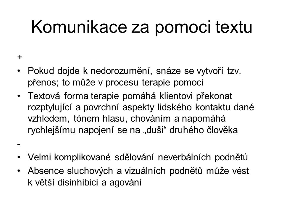 Komunikace za pomoci textu