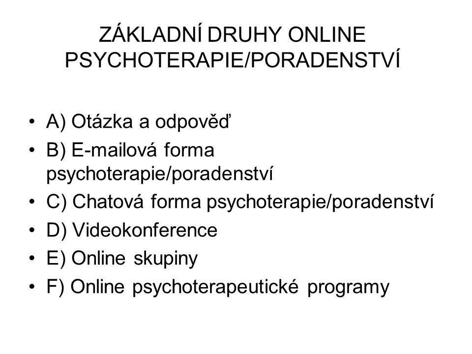 ZÁKLADNÍ DRUHY ONLINE PSYCHOTERAPIE/PORADENSTVÍ