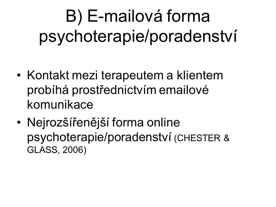 B) E-mailová forma psychoterapie/poradenství