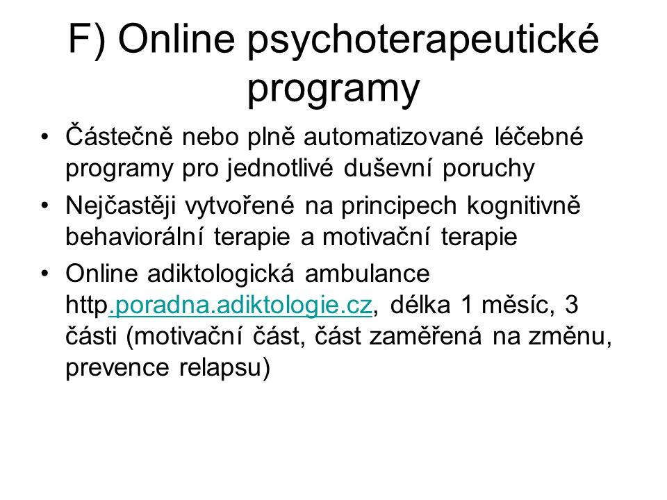 F) Online psychoterapeutické programy