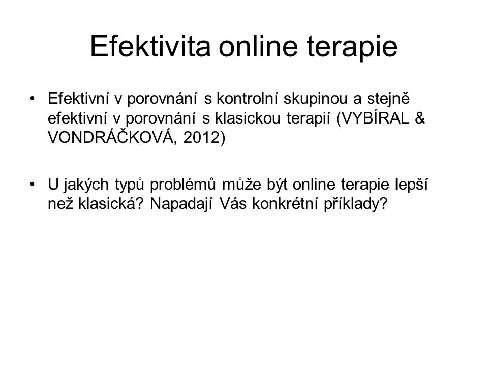 Efektivita online terapie