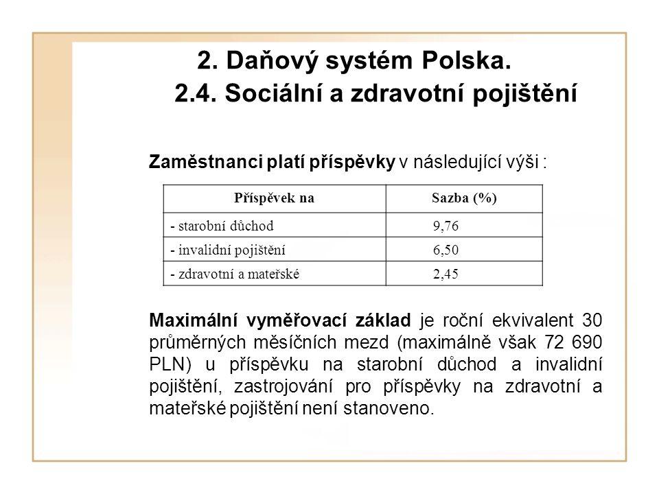 2. Daňový systém Polska. 2.4. Sociální a zdravotní pojištění