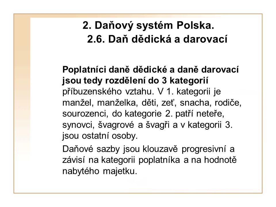 2. Daňový systém Polska. 2.6. Daň dědická a darovací