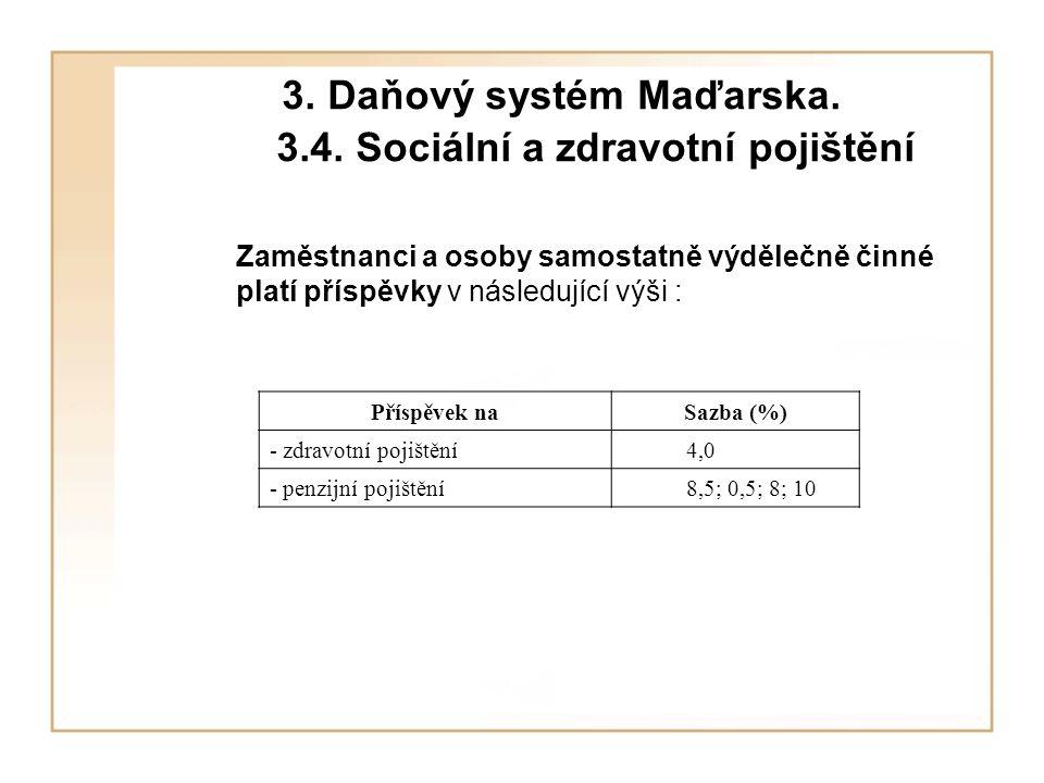 3. Daňový systém Maďarska. 3.4. Sociální a zdravotní pojištění