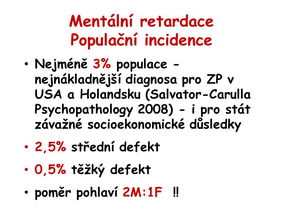 Mentální retardace Populační incidence