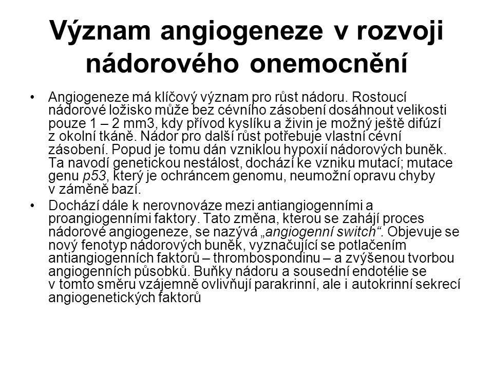 Význam angiogeneze v rozvoji nádorového onemocnění
