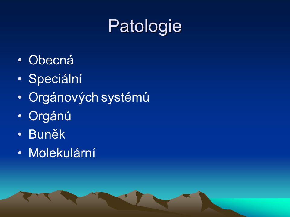 Patologie Obecná Speciální Orgánových systémů Orgánů Buněk Molekulární