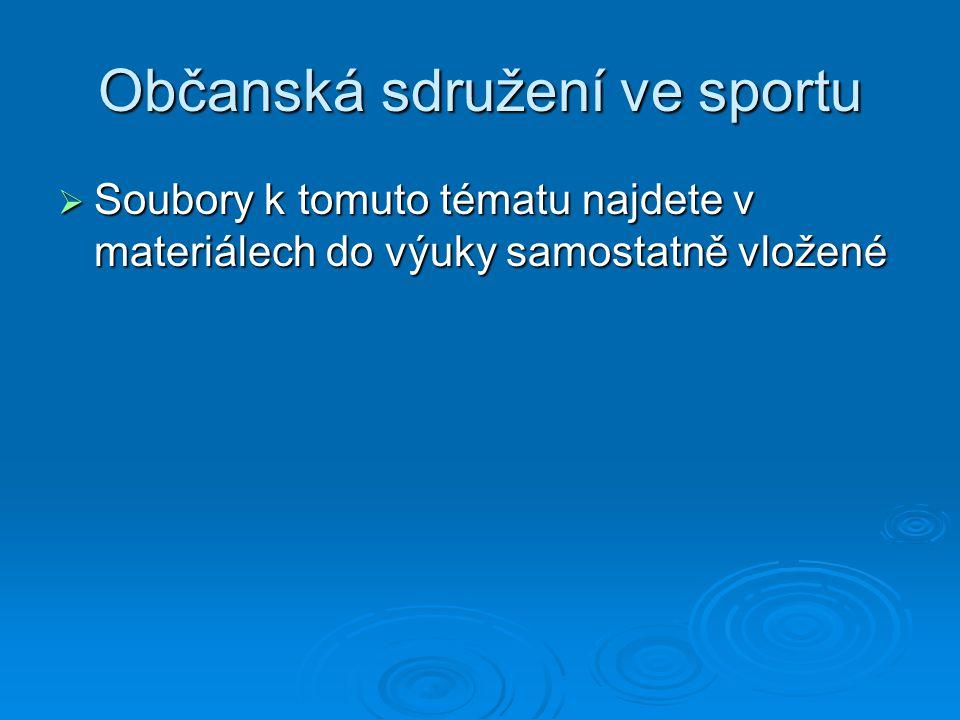 Občanská sdružení ve sportu