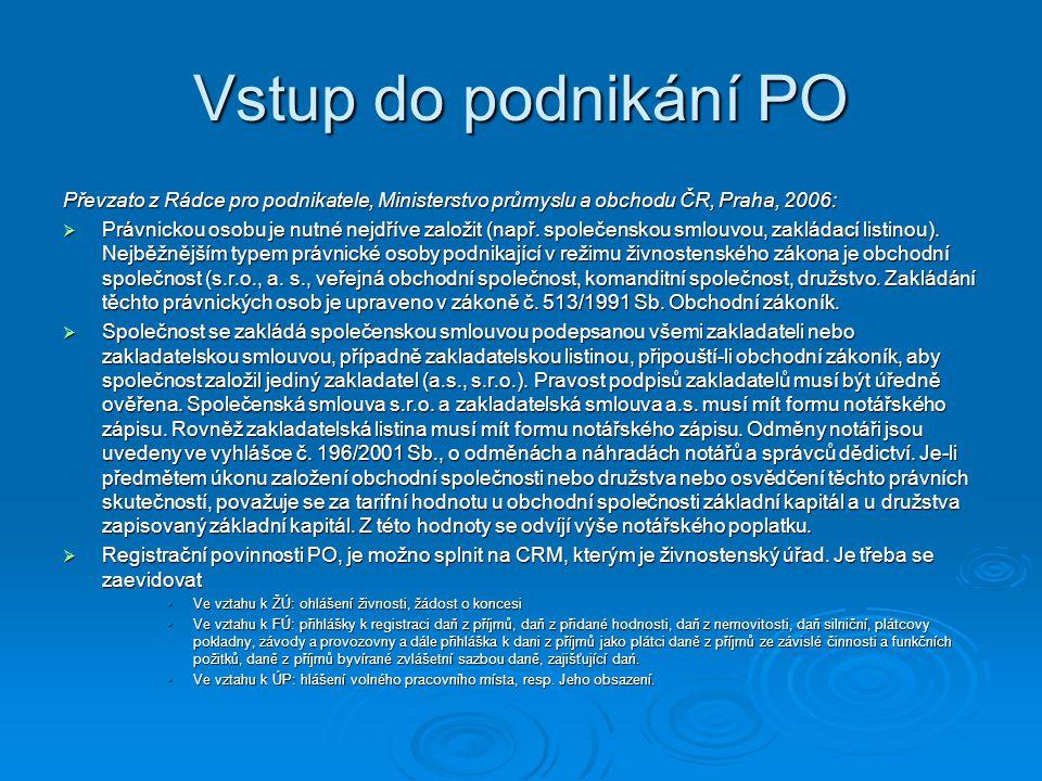 Vstup do podnikání PO Převzato z Rádce pro podnikatele, Ministerstvo průmyslu a obchodu ČR, Praha, 2006:
