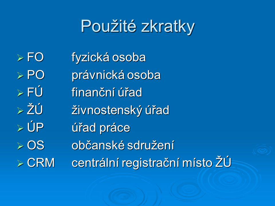 Použité zkratky FO fyzická osoba PO právnická osoba FÚ finanční úřad