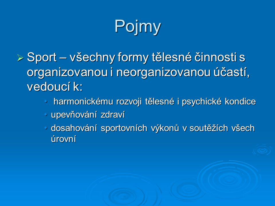 Pojmy Sport – všechny formy tělesné činnosti s organizovanou i neorganizovanou účastí, vedoucí k: harmonickému rozvoji tělesné i psychické kondice.