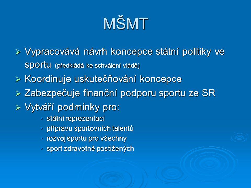 MŠMT Vypracovává návrh koncepce státní politiky ve sportu (předkládá ke schválení vládě) Koordinuje uskutečňování koncepce.