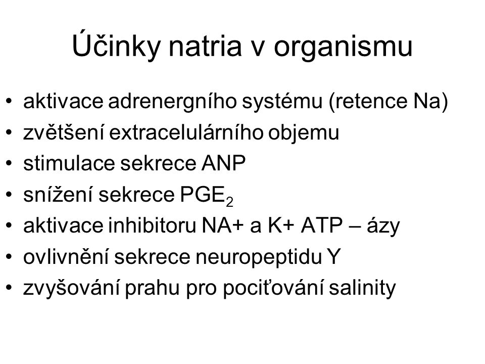 Účinky natria v organismu