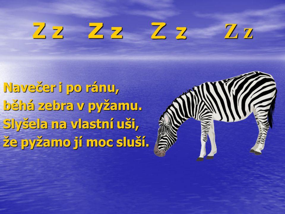 Z z Z z Z z Z z Navečer i po ránu, běhá zebra v pyžamu.
